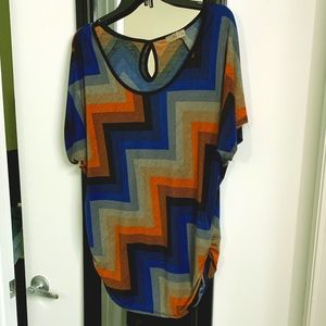 Lavish Patterned Tunic Tee with Side Ruching